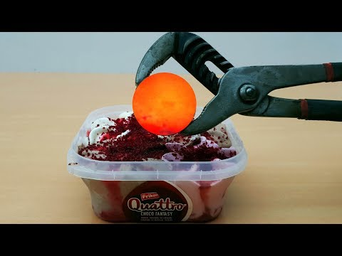 EXPERIMENT Glowing 1000 Degree METAL BALL vs ICECREAM