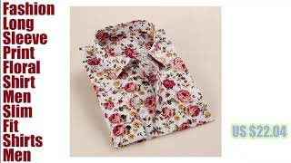 Long Sleeve Print Floral Slim Fit Shirts Men_hofago.com