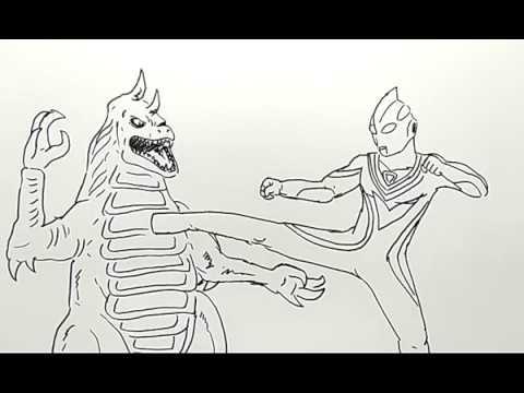 Cara Menggambar Ultraman Tiga Vs Monster Dengan Mudah How To Draw