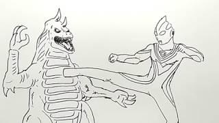 cara menggambar ultraman tiga vs monster dengan mudah / how to draw ultraman