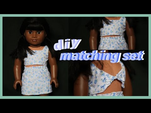 DIY BOW BACK CROP TOP AND SKIRT FOR AMERICAN GIRL DOLL! | DIY SPRING FASHION