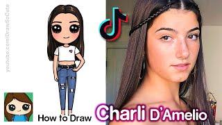 How to Draw Charli D'Amelio | Tik Tok Star