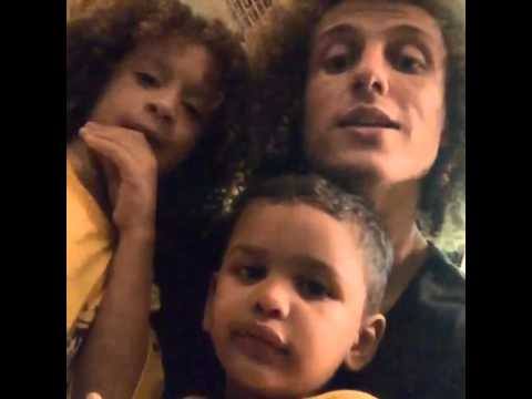 David Luiz com mini David Luiz e mini Thiago Silva