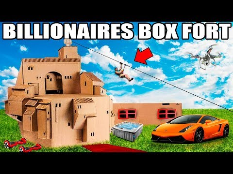 WORLDS BIGGEST BILLIONAIRE BOX FORT CHALLENGE!! 📦💰 24 Hour: Movie Theatre, Gaming Room, Escalator
