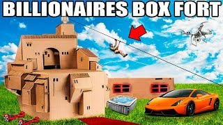 WORLDS BIGGEST BILLIONAIRE BOX FORT CHALLENGE!! ???????? 24 Hour: Movie Theatre, Gaming Room, Escala