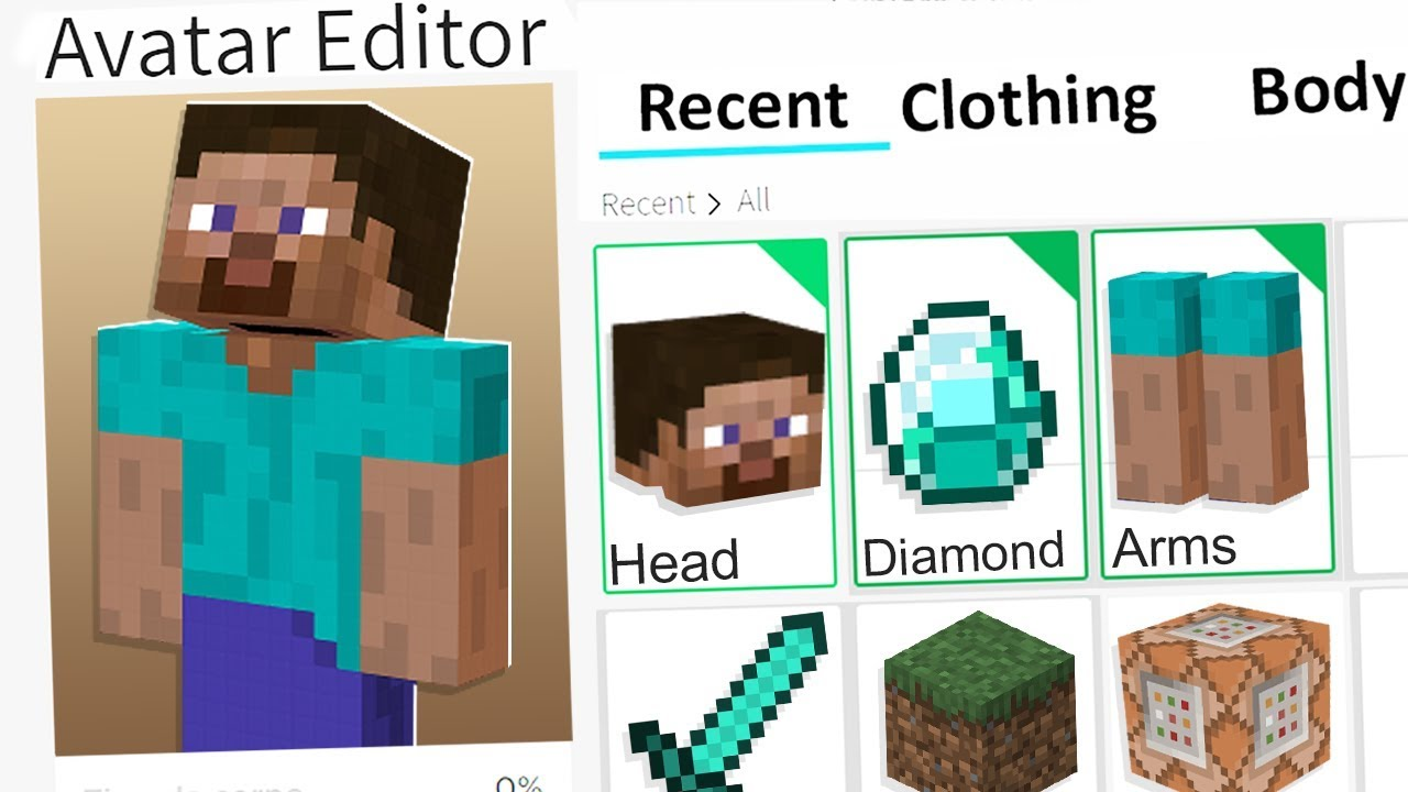 Making Minecraft Steve A Roblox Account Youtube