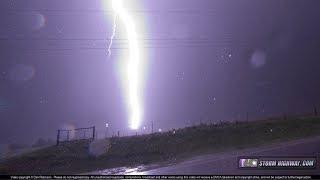 Close lightning hits power line: video & still image - Arnett, OK, May 30, 2018
