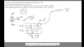 Ch 7 - Circular Motion - Car Traveling Around Curve
