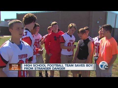 High school football team saves boy from stranger danger