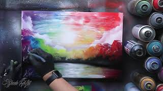 Rainbow Forest  SPRAY PAINT ART  by Skech