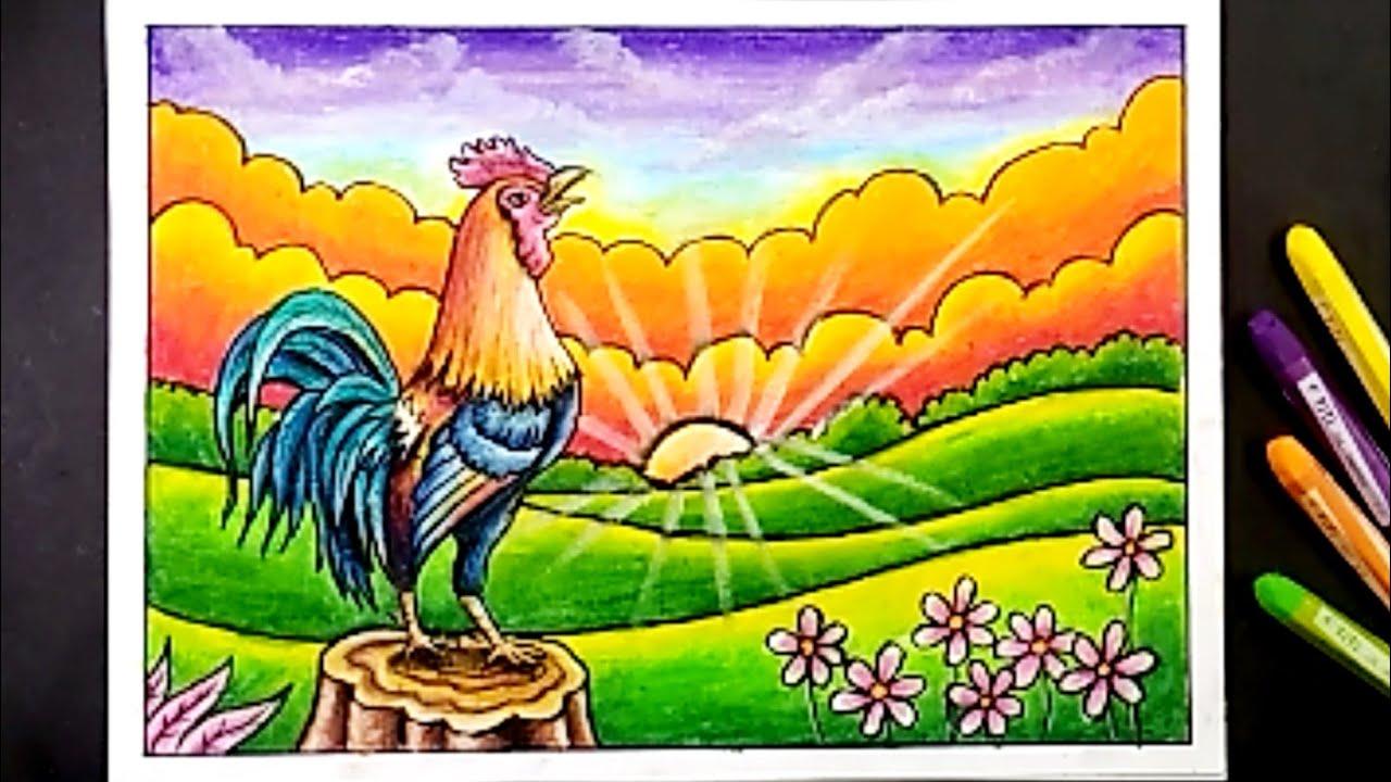 mewarnai gambar ayam dengan crayon cara menggambar dan