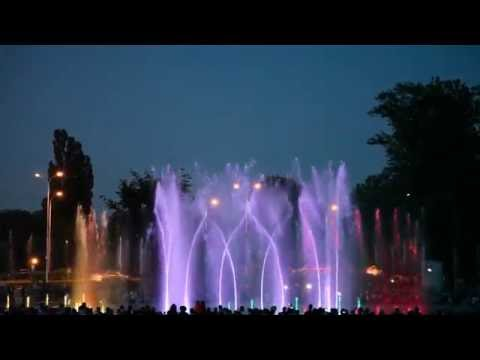 Great multimedia fountain park show in Warszaw