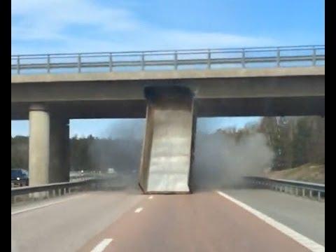 truck with raised platform rams bridge in Sweden