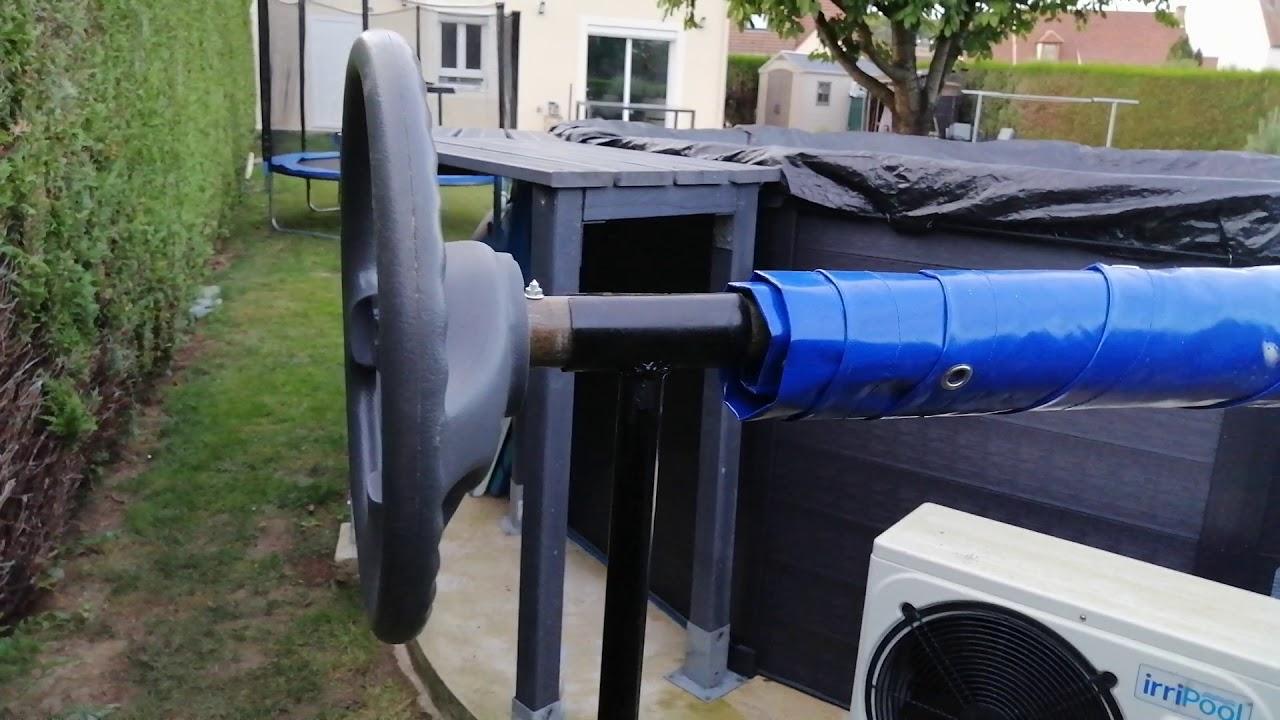 Enrouleur bache fait maison pour piscine intex graphite.