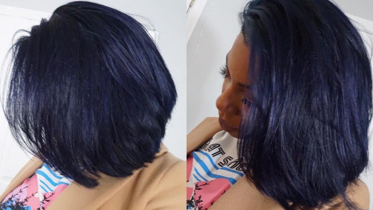 Peruvian Straight Midnight Blue Frontal Bob Wig⎮ali Klaiyi