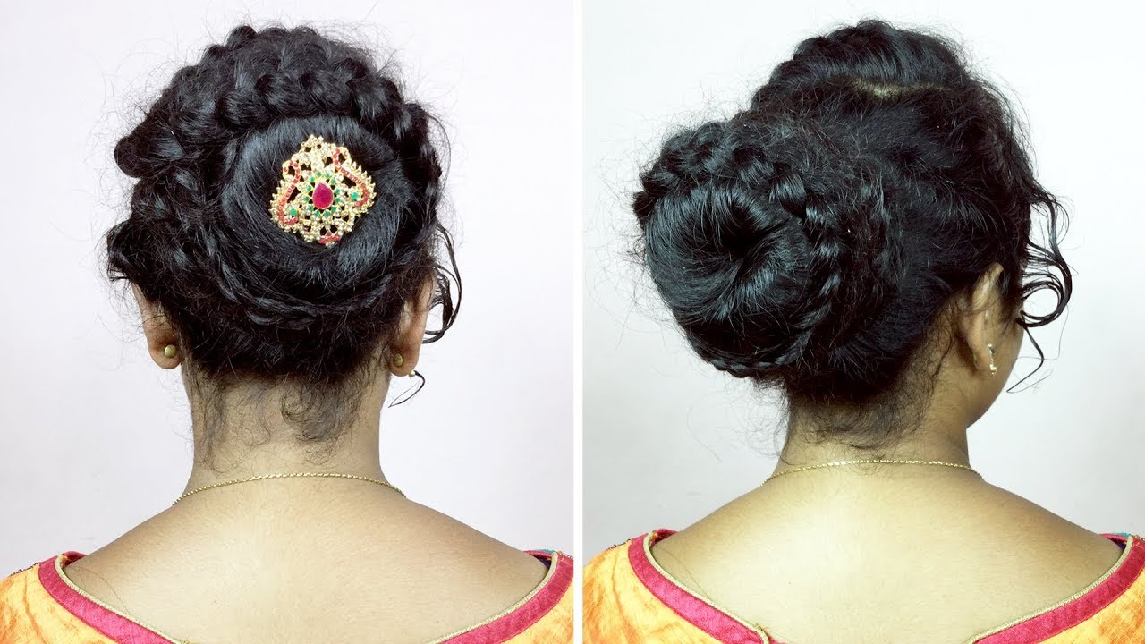 EASY Wedding HAIRSTYLE for Saree | Bridal Bun Hairstyles By Hair Styles & Fashions - YouTube