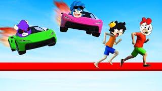 ¡TROLLINO ESCAPA DE LOS COMPAS! 😭🤬 AUTOS vs CORREDORES en GTA 5