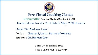 Foundation Paper 2A BL Topic: Chapter 1, Unit 1- Nature of contract Morning Session Date: 2-2-2021