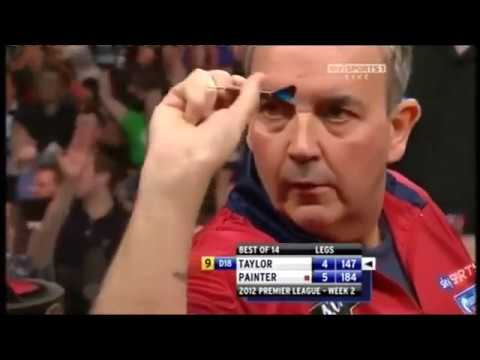 Phil Taylor hits Perfect 9 dart leg vs Kevin Painter 2012 Premier League