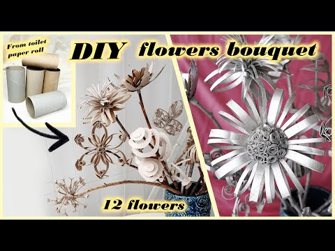 How to make spring/summer FLOWERS bouquet | DIY tissue/toilet paper roll craft