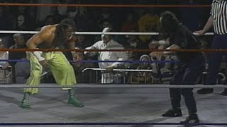 Tanaka narrowly avoids getting put through a table against Sabu: ECW Hardcore TV, Feb. 22, 1994