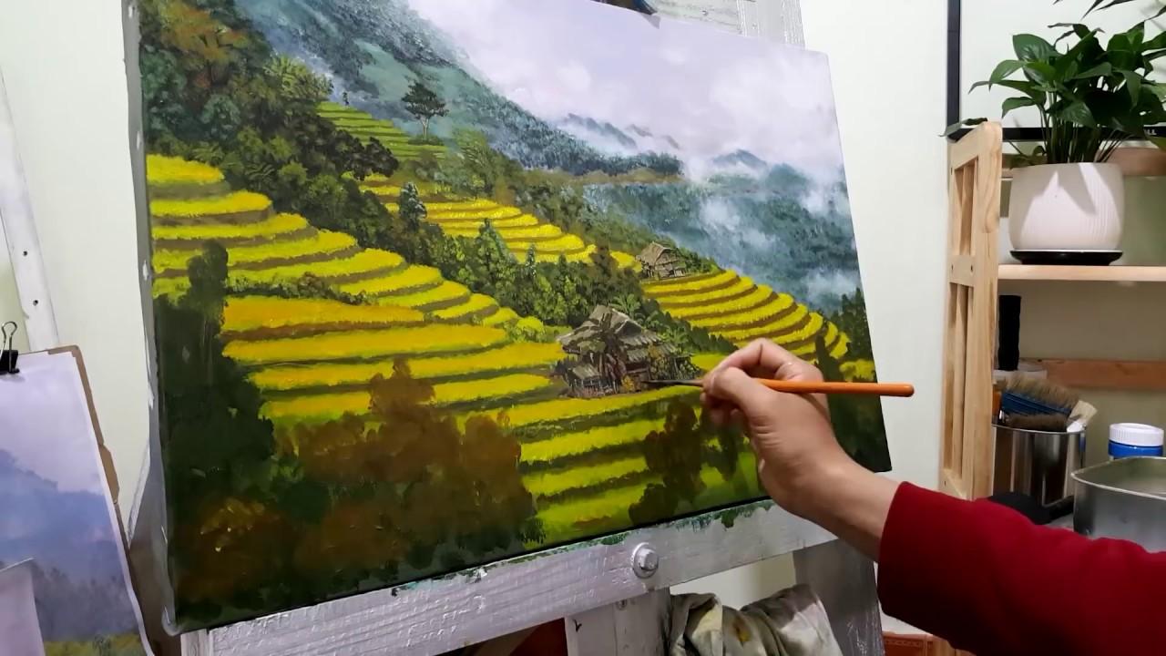 vẽ tranh phong cảnh ruộng bậc thang | step by step painting | acrylic painting tutorial #03