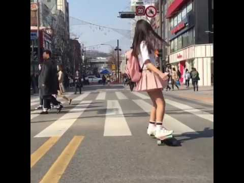 Graceful School Girl Dancing On A Longboard On The Way To School #longboard #schoolgirl thumbnail