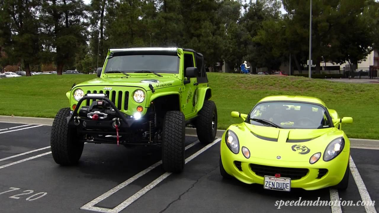 Neon Green Jeep and Lotus  would you take in this color sports