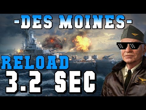 What a Halsey DesMoines with a 3.2 sec reload looks like || World of Warships