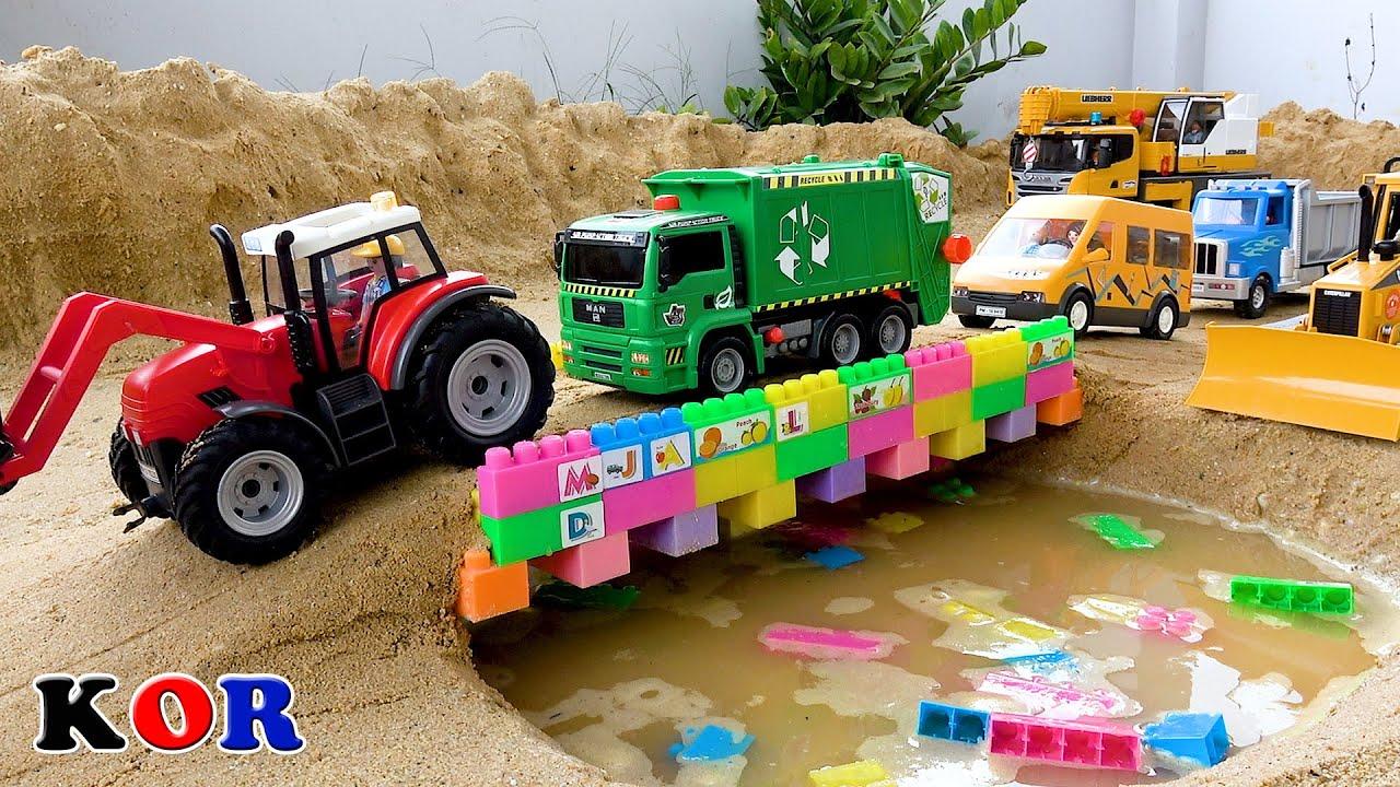 Download 자동차 장난감 메가블럭 다리 만들기 굴착기 트랙터 도로 롤러 크레인 트럭 색깔놀이 모래놀이