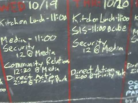 Occupy Wall Street, Liberty Plaza, Oct. 15, 2011 --   Working Groups Schedule