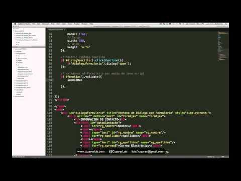 Ventana de Diálogo con HTML -- jQuery -- jQuery UI + Formulario + jQuery.Validate