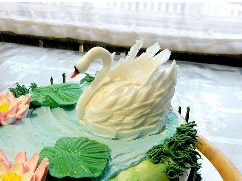 Как сделать лебедя из крема на торт видео