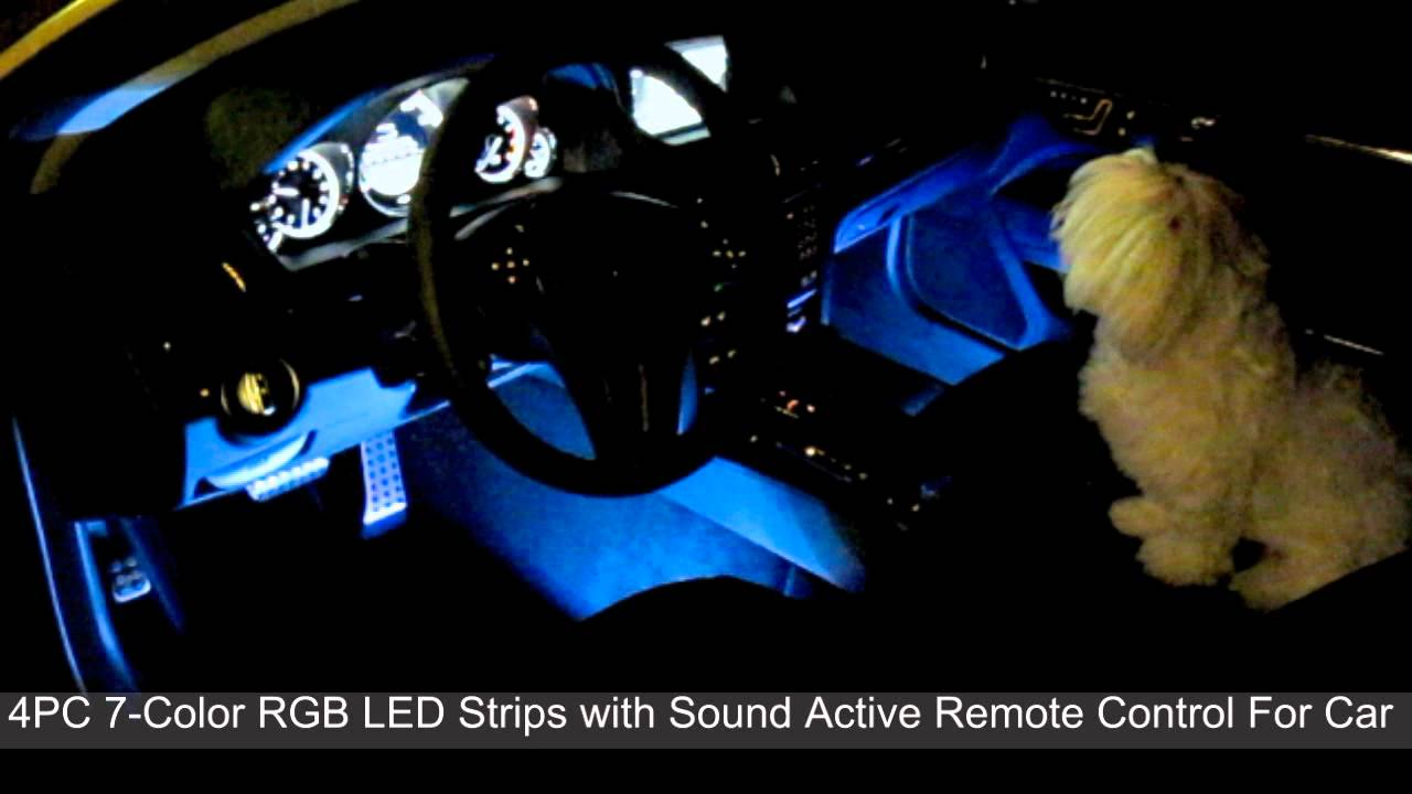 Car color kit - Sound Active 7 Color Rgb Led Car Interior Lighting Kit Part 3 Youtube