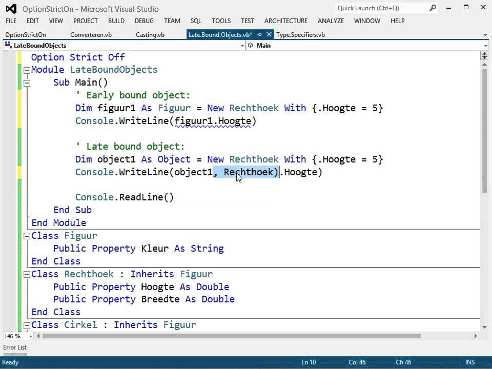 Visual Basic: Compiler Opties: Option Strict: Late Binding