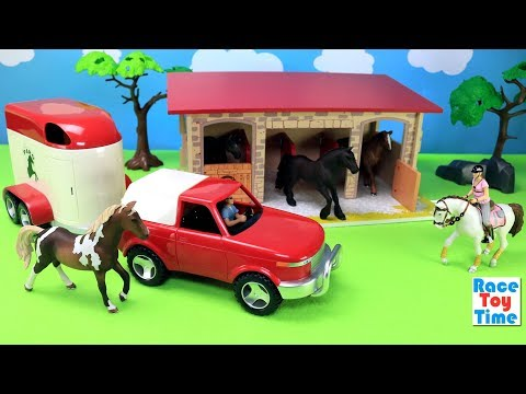 Horse Trailer and Barn Stable Playset Fun Toys For Kids