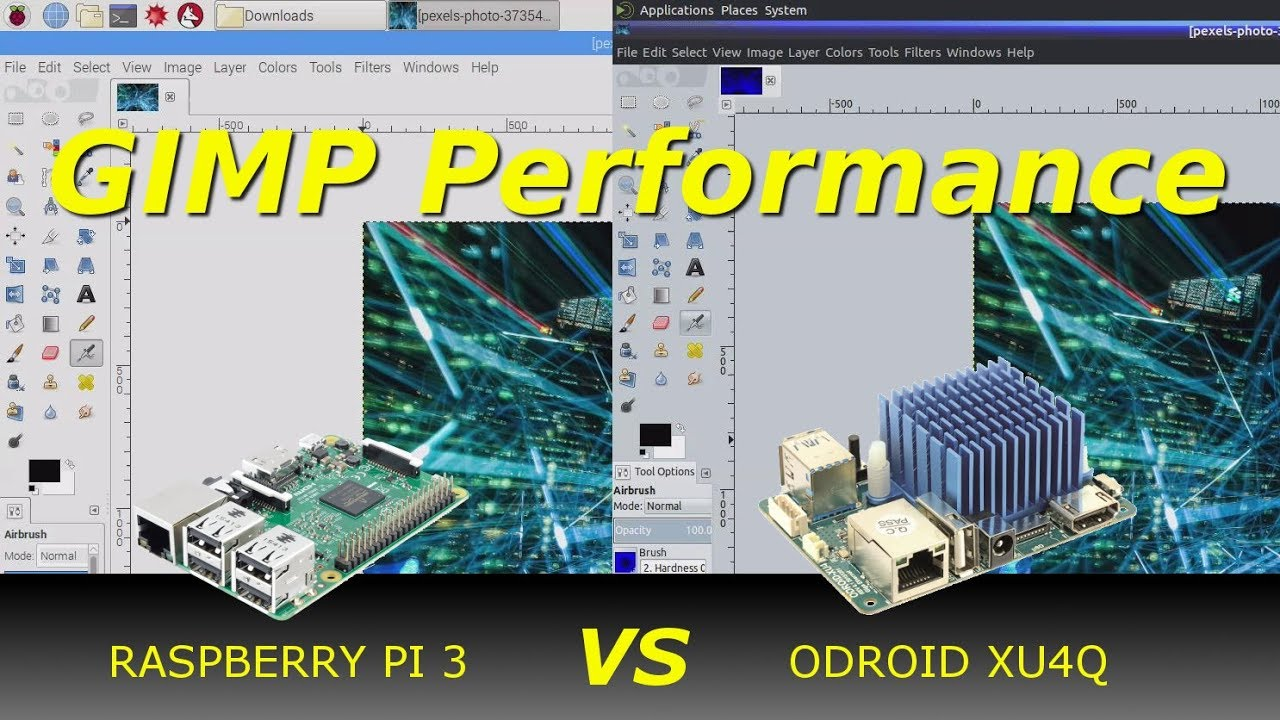 ODROID XU4 vs Raspberry Pi 3 - GIMP Performance Comparison