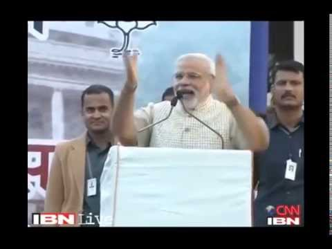 Modi gives his victory speech with brief comments in Marathi & Gujarathi