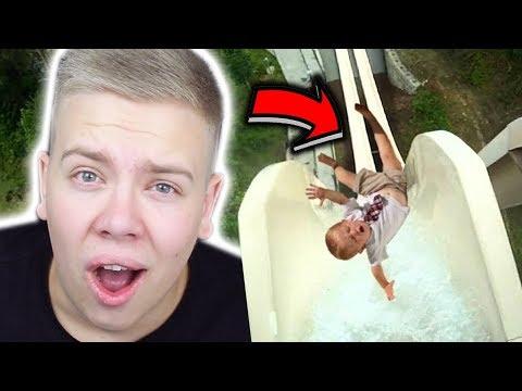 Dieser Junge fällt von einer Wasserrutsche 😱