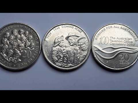Australian Commemorative 20 Cent Coins Excluding 2001 Federation Issue.