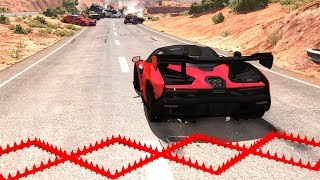Spike Strip Multi-Vehicle Pileup Crashes #9 - BeamNG Drive Police Spike Strip Testing