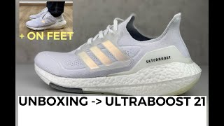 ALL DETAILS OF THE NEW ADIDAS ULTRABOOST 21 'cloud white' | UNBOXING & ON FEET | running shoe