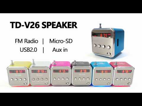 TD-V26 Portable Speaker with FM Radio USB TF Slot Aux-in MP3 Music Player