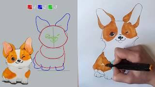 Как нарисовать СОБАКУ поэтапно. How to draw a dog