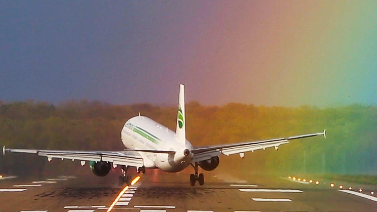 Airbus A321 RAINBOW CROSSWIND Landing At Dusseldorf