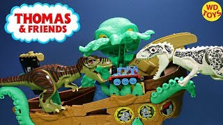 Thomas & Friends Adventures Sea Monster Pirate With 10 Surprise Eggs  VS Jurassic Dinosaurs Unboxing