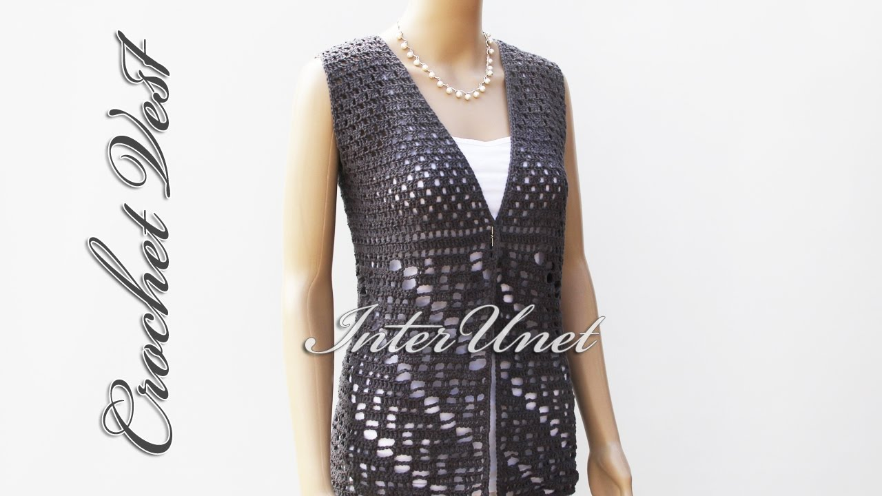Open Front Vest Jacket Lace Summer Top Crochet Pattern Youtube
