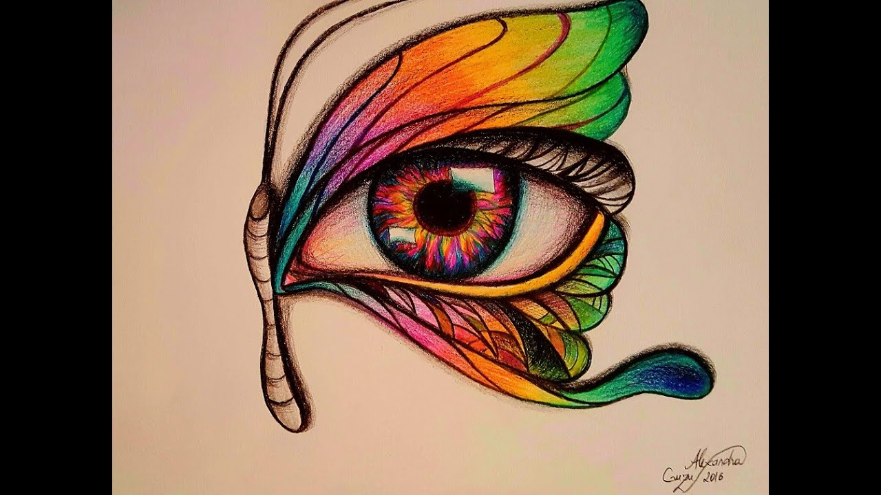 Butterfly eye-drawing demo-surrealistic-super-speed - YouTube