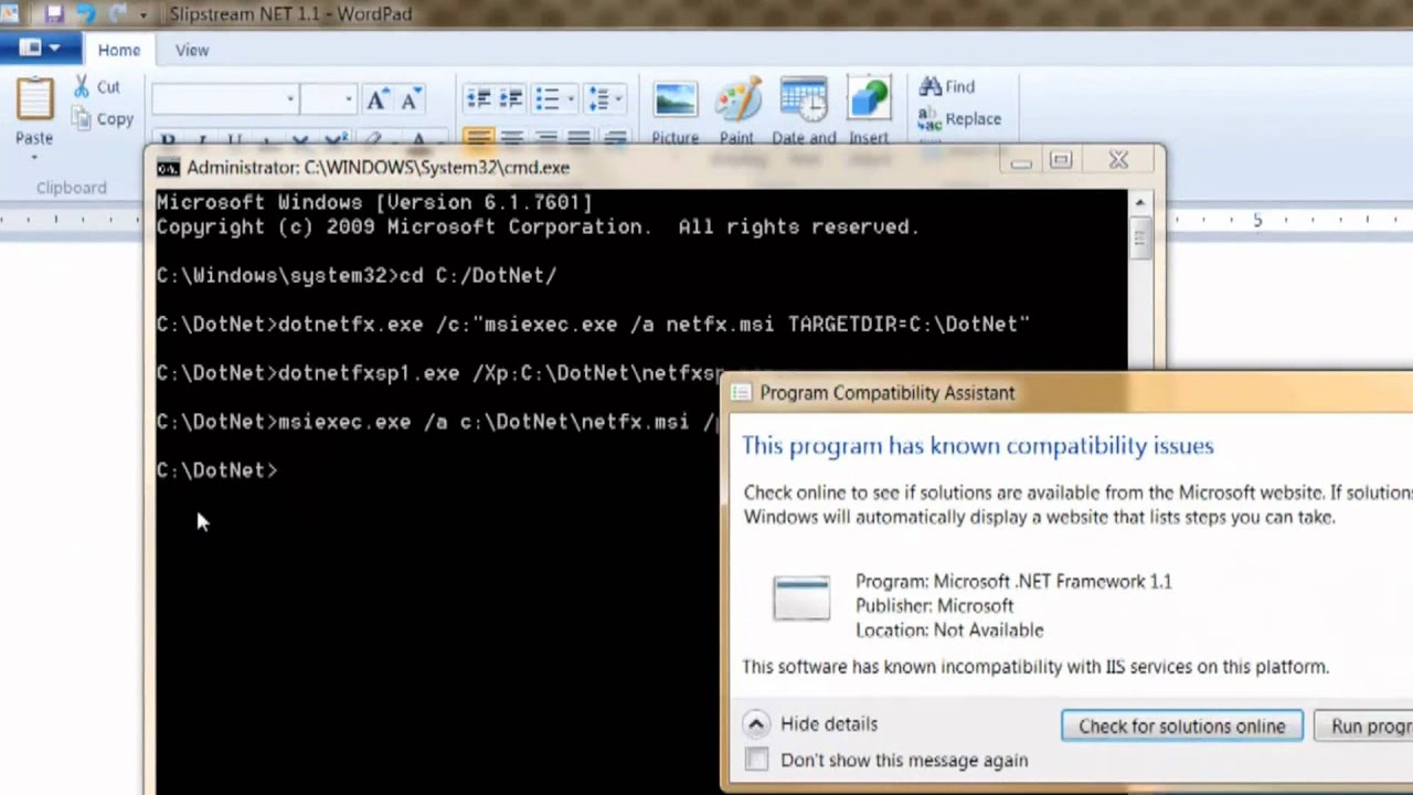 How to install .NET Framework 1.1 on Windows 7 64-bit - YouTube