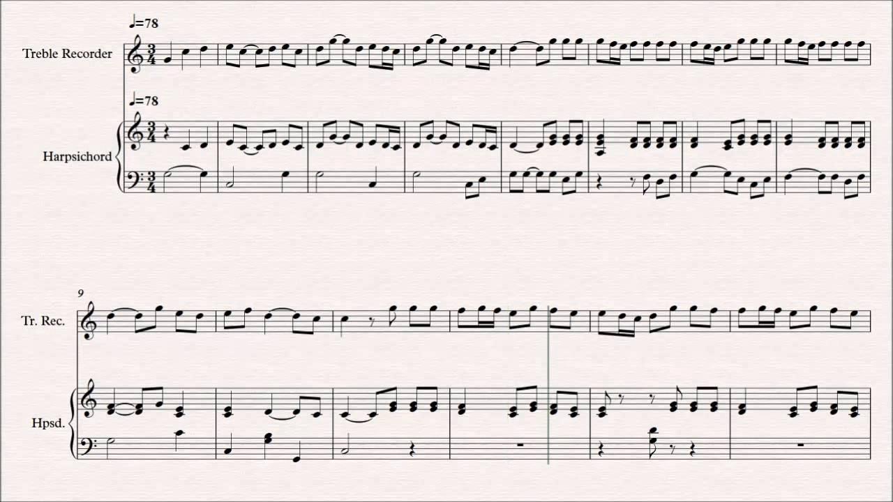 Theme from Water Music - G.F Handel (Treble Recorder & Harpsichord ...